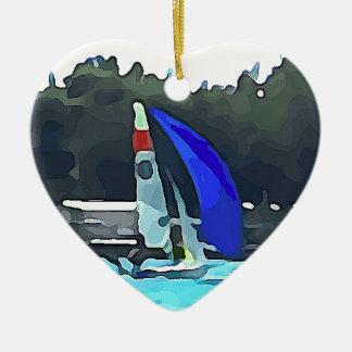 Voilier bleu ornement cœur en céramique