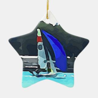 Voilier bleu ornement étoile en céramique