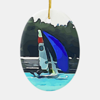 Voilier bleu ornement ovale en céramique