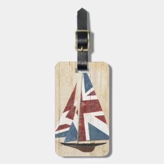 Voilier britannique de drapeau étiquettes bagages