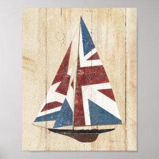 Voilier britannique de drapeau poster