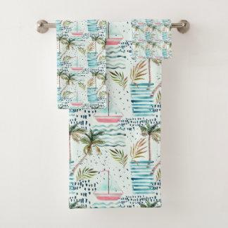 Voilier d'aquarelle avec le motif de palmier