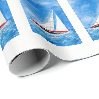 voilier d'aquarelle papier cadeau noël