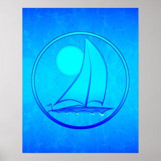 Voilier de bleu d'océan affiche