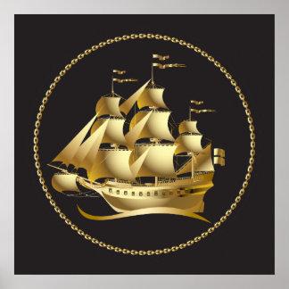 Voilier d'or nautique poster