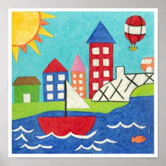 Voilier et ballon à air chaud avec le paysage poster