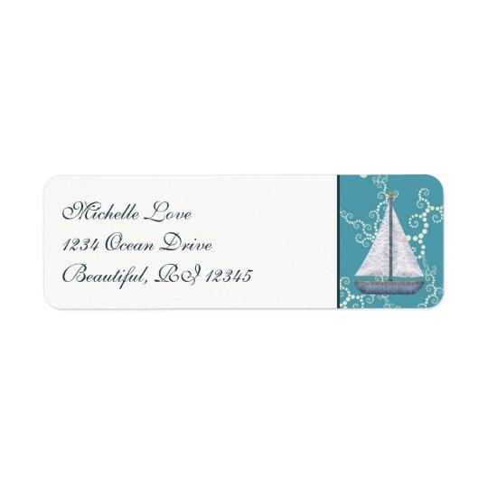 Voilier nautique avec l'adresse de étiquette d'adresse retour
