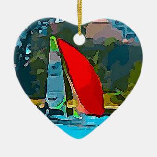 Voilier rouge ornement cœur en céramique