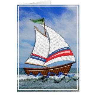 Voilier superbe sur le blanc de hautes mers carte de vœux