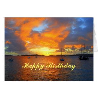 Voiliers de joyeux anniversaire au coucher du sole cartes de vœux