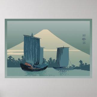 Voiliers et mont Fuji Posters