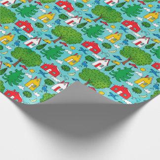 Voisinage coloré d'enfants papier cadeau