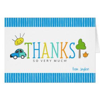 Voiture colorée de la carte de note de Merci de