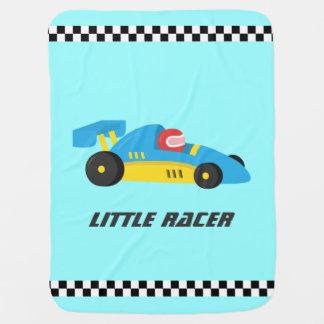 Voiture de course bleue mignonne pour le petit couvertures de bébé