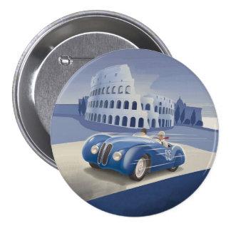 Voiture de course bleue vintage classique pin's