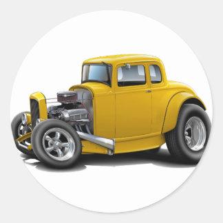voiture de jaune de hot rod des années 1930 sticker rond