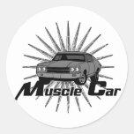 Voiture de muscle de nova de Chevy Adhésif Rond