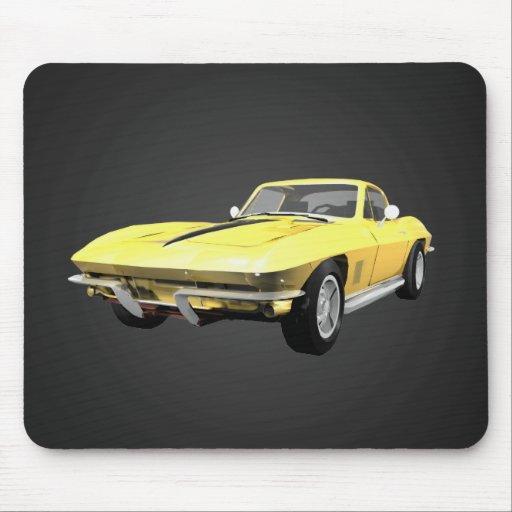 Voiture de sport 1967 de Corvette : Finition jaune Tapis De Souris