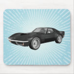 Voiture de sport 1970 de Corvette : Finition noire Tapis De Souris