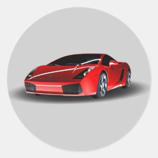 Voiture de sport rouge Animated Sticker Rond
