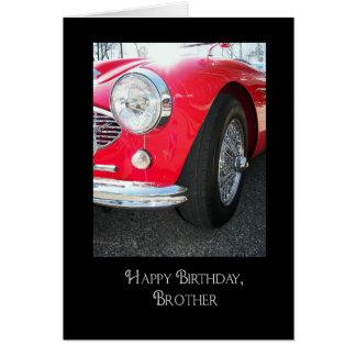 Voiture de sport vintage anniversaire-rouge du carte de vœux