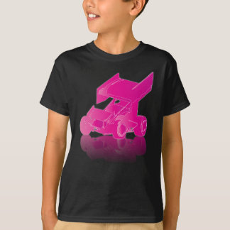 Voiture de sprint à ailes par réflexion rose t-shirt