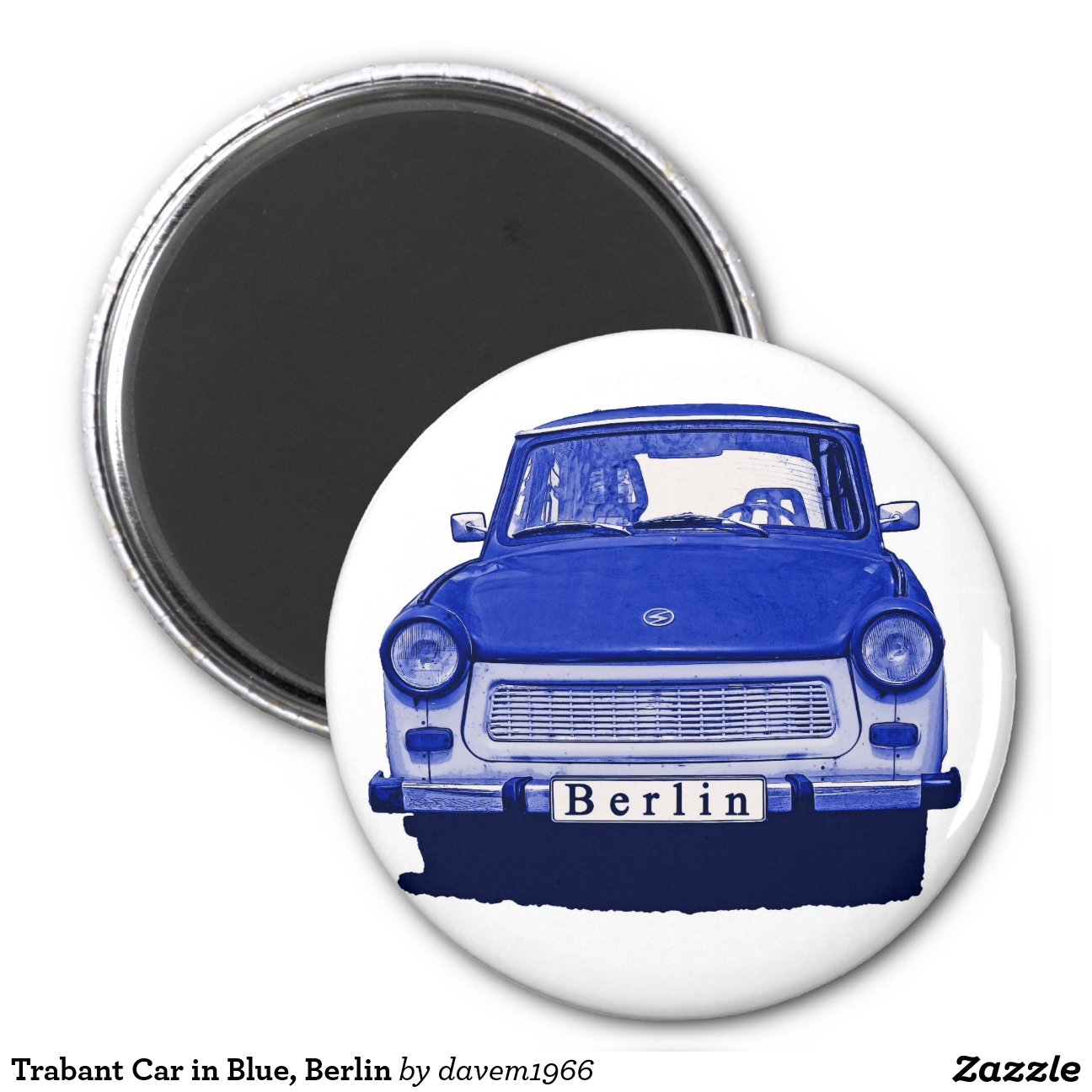 voiture de trabant dans le bleu berlin magnet rond 8 cm zazzle. Black Bedroom Furniture Sets. Home Design Ideas