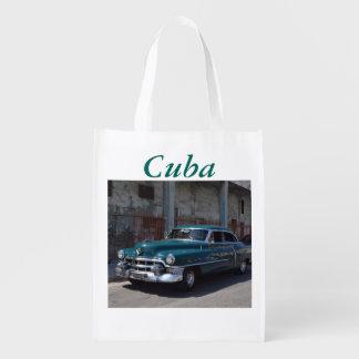 Voiture du Cuba de drapeau cubain vieille Sac Réutilisable