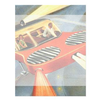 Voiture futuriste vintage de vol de la prospectus 21,6 cm x 24,94 cm