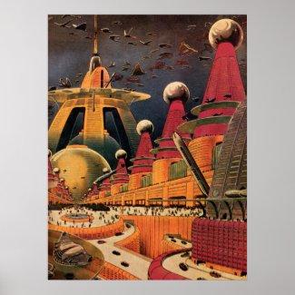 Poster Ville futuriste