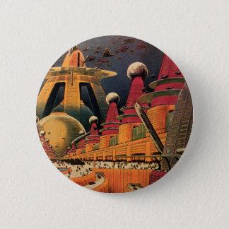Voiture futuriste vintage de vol de ville de la badge