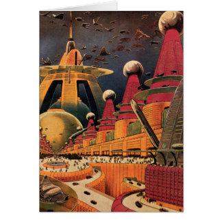 Voiture futuriste vintage de vol de ville de la carte de vœux
