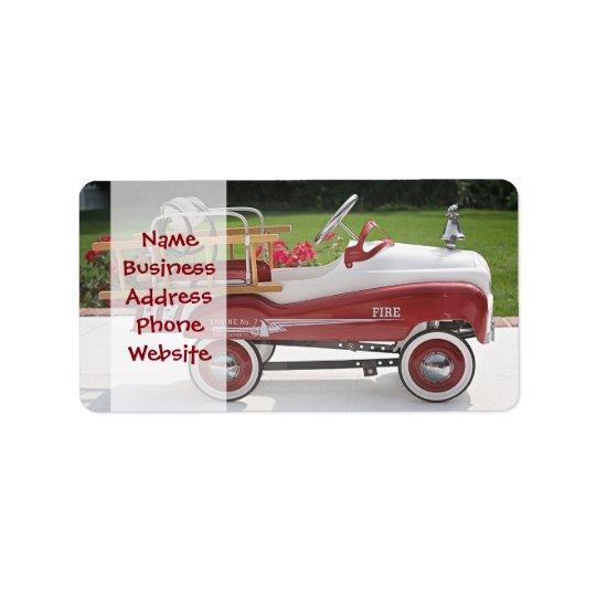 Voiture générique de Firetruck de voiture de Étiquette D'adresse