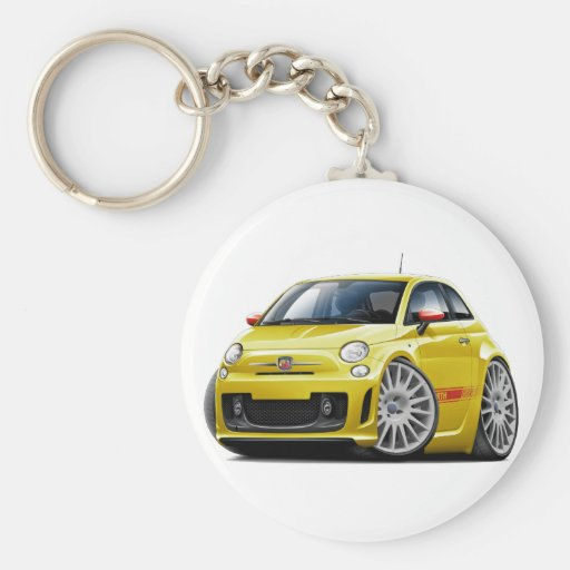 voiture jaune de fiat 500 abarth porte cl rond zazzle. Black Bedroom Furniture Sets. Home Design Ideas