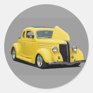 voiture jaune de hot rod autocollant