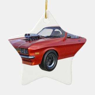 voiture rouge de muscle des années 1970 ornement étoile en céramique
