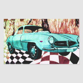 Voiture sauvage - art et conception de sticker rectangulaire
