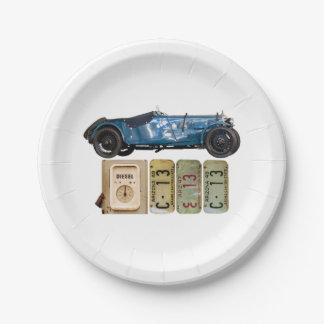 Voiture vintage bleue assiettes en papier