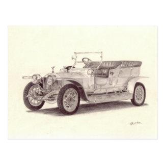 Voiture vintage : Fantôme argenté de Rolls Royce Cartes Postales