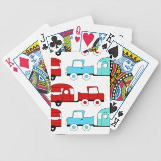 Voitures vintages rouges de rétro de camping jeux de cartes