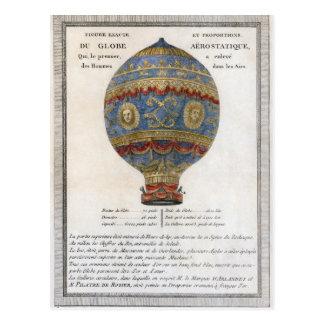 Vol chaud de ballon à air des frères 1783 de carte postale