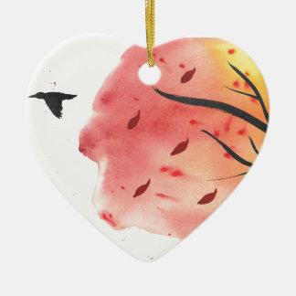 Vol d'automne ornement cœur en céramique