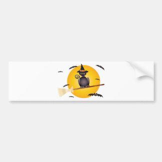 Vol de chat de Halloween sur l'illustration de Autocollant De Voiture