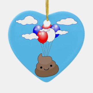 Vol de Poo Emoji avec des ballons en ciel bleu Ornement Cœur En Céramique