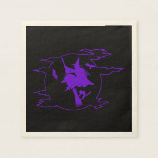 Vol de sorcière sur des serviettes de Halloween de Serviette En Papier