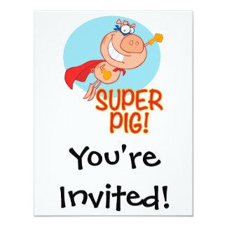 vol superbe de porc de super héros de porc invitation personnalisée