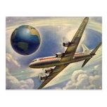 Vol vintage d'avion autour du monde en nuages cartes postales
