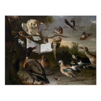 Volée des oiseaux musicaux peignant la carte carte postale