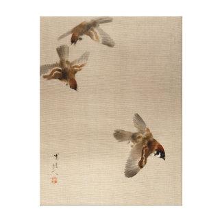 Voler de moineaux de Watanabe Seitei Toile