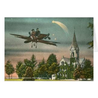 Voler haut au-dessus de la vieille chapelle carte de vœux